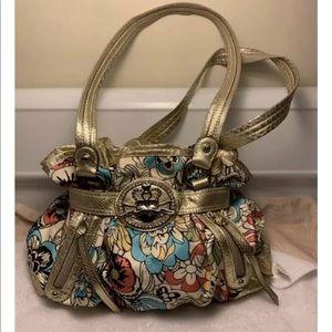 Kathy Van Zeeland Gold Multi Colored Hand Bag